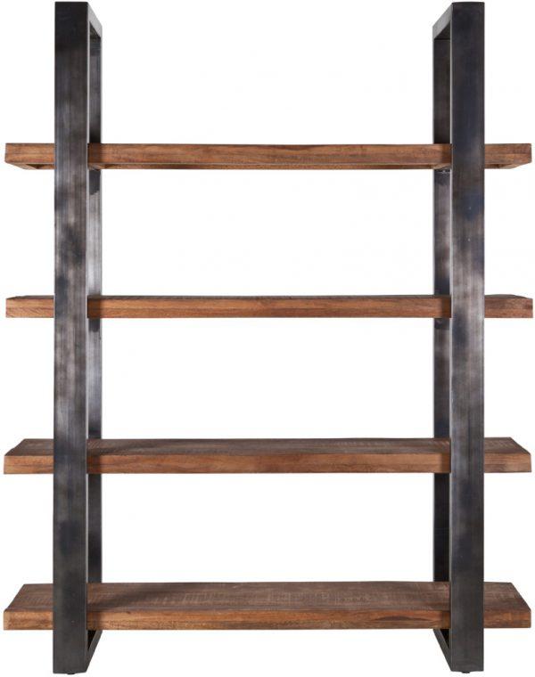 Eleonora Mangohouten boekenkast metalen poot 160cm - zwart - 11141 - Löwik Meubels