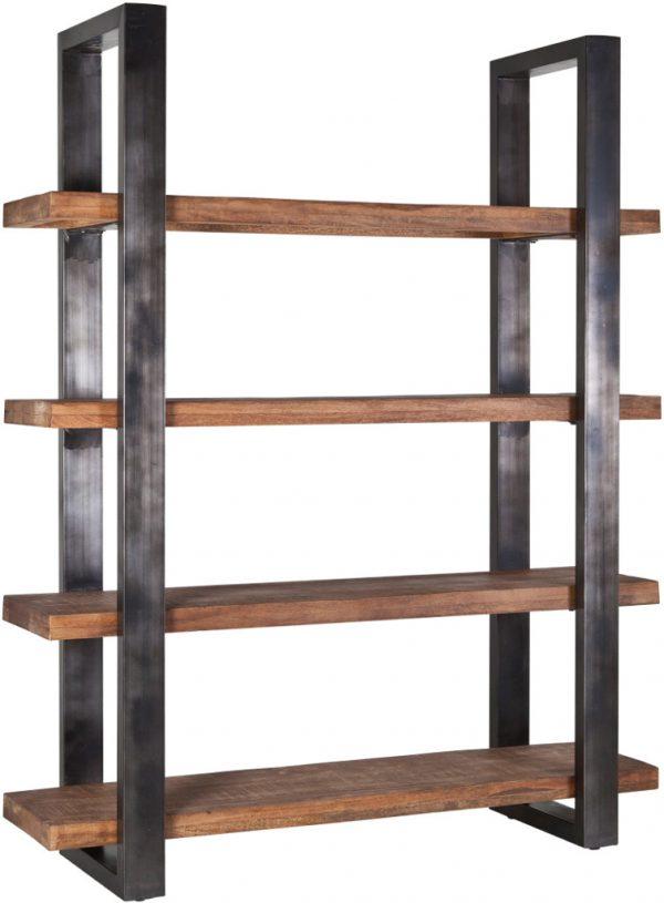 Eleonora Mangohouten boekenkast metalen poot 160cm - zwart - 11141 - Löwik Meubelen