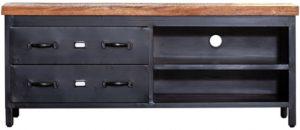 TV uit de stijlvolle collectie van Eleonora. De Eleonora meubels sluiten perfect aan bij de laatste interieurtrends op het gebied van eigentijdse, vintage, industriële en scandinavische woonstijlen. TV meubel Industrieel - 2 laden. Afmeting: (hxbxd) 55x135x42 cm.