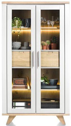 Jardin, vitrine 110 cm - 2-glasdeuren + 2-laden (binnenin) (+ LED) JARDIN CABINET 39904WIT Henders & Hazel Lowik Wonen & Slapen