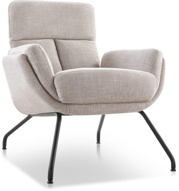 Bow fauteuil met lage rug in stof delhi 2663-licht beige met zwarte metalen poten