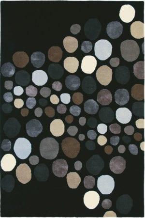 Vloerkleed Estella Carnaval 85005 van Brink & Campman is een exclusief handgetuft karpet met een eigenzinnig cirkelvormig design. Het vloerkleed is samengesteld uit scheerwol, seide / viskose en is uitgevoerd in de kleur zwart. Het kleed heeft een afmeting van 140 x 200 cm.