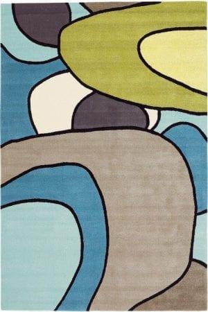 Vloerkleed Estella Comic 875008 van Brink & Campman is een exclusief handgetuft karpet met een eigenzinnig cirkelvormig design. Het vloerkleed is samengesteld uit scheerwol en is uitgevoerd in de kleur groen, blauw, meerkleurig. Het kleed heeft een afmeting van 140 x 200 cm.