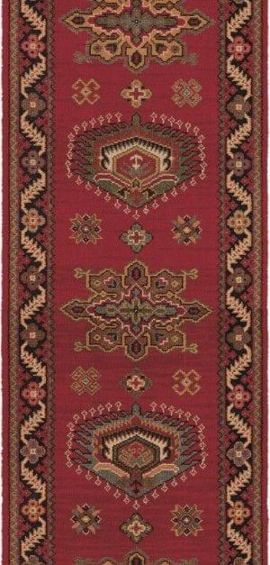 Vloerkleed Loper Emir 10521 van Brink & Campman is een exclusief loper karpet met een eigenzinnig geborduurd, klassiek design. Het vloerkleed is samengesteld uit polyamide, wol en is uitgevoerd in de kleur rood, meerkleurig. Het kleed heeft een afmeting van 57 x 100 cm.