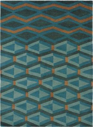 Vloerkleed Yara Artdeco 33508 van Brink & Campman is een exclusief handgeknoopt karpet met een eigenzinnig ruitvormig, strepen design. Het vloerkleed is samengesteld uit nieuw-zeeland wol, tibetaans wol en is uitgevoerd in de kleur turquoise, blauw. Het kleed heeft een afmeting van 140 x 200 cm.
