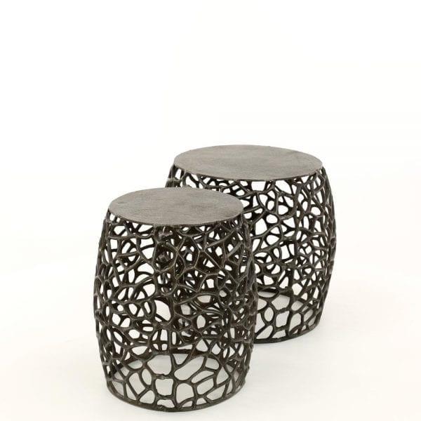 Bijzettafel set/2 maze zandgegoten / Zwart nikkel. 3484/31Z uit de bijzettafels collectie van Zijlstrakleinmeubelen & verlichting bij Löwik Meubelen
