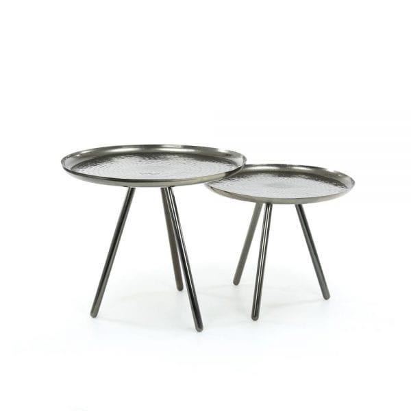 Bijzettafelset bestaande uit 2 tafels met Ø50cm en Ø58cm in staal. / Zwart nikkel. 3353/31Z uit de bijzettafels collectie van Zijlstrakleinmeubelen & verlichting bij Löwik Meubelen