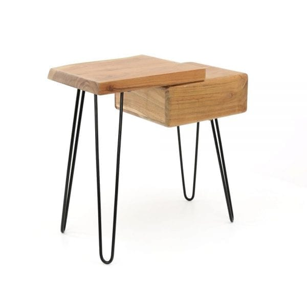 Side table/ nachtkastje edge rechts. Het ladeblok zit links en het plateau bevindt zich rechts. / Massief acacia naturel. 2515/15 uit de nachtkastjes collectie van Zijlstrakleinmeubelen & verlichting bij Löwik Meubelen