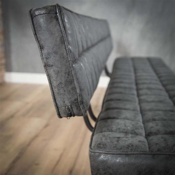 Eetkamerbank 180 cm voorzien van kruisstiksel en een open rug. / Wax PU zwart. 4123/44W uit de eetkamerstoelen collectie van Zijlstrakleinmeubelen & verlichting bij Löwik Meubelen