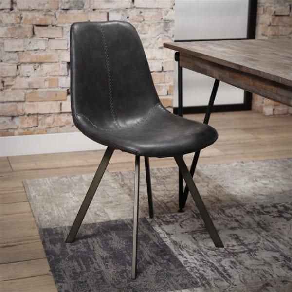Stoel zig-zag plat frame VPE 4 / Saddle PU zwart. 3706/44s uit de eetkamerstoelen collectie van Zijlstrakleinmeubelen & verlichting bij Löwik Meubelen