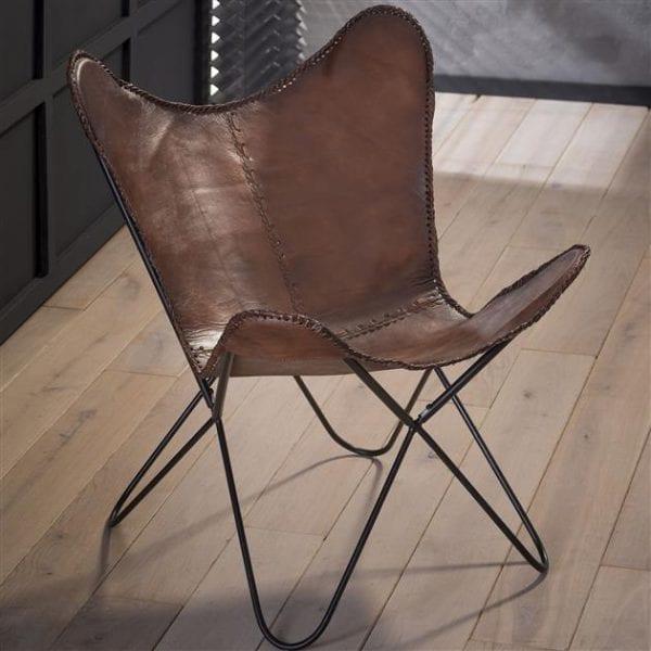 Vlinderstoel leder VPE 2 / Bruin. 3610/40 uit de fauteuils collectie van Zijlstrakleinmeubelen & verlichting bij Löwik Meubelen