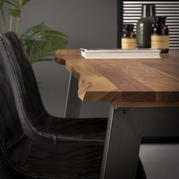 Eetkamertafel 180 edge 25mm / Massief acacia naturel. 2507/15 uit de eetkamertafels collectie van Zijlstrakleinmeubelen & verlichting bij Löwik Meubelen