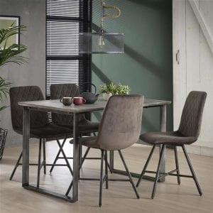 Eettafel 120cm 45° frame / 3D betonlook grijs. 3723/62 uit de eetkamertafels collectie van Bullcraft kleinmeubelen & verlichting bij Löwik Meubelen