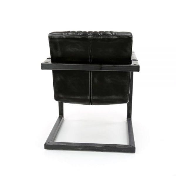 Fauteuil vintage washed PU geruit vierkante buis VPE 2 / Antraciet. 4132/45 uit de fauteuils collectie van Zijlstrakleinmeubelen & verlichting bij Löwik Meubelen
