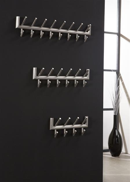 Garderobe 2x8 haaks ronde buis RVS / Geborsteld RVS. 4630/38B uit de kapstokken collectie van Zijlstrakleinmeubelen & verlichting bij Löwik Meubelen