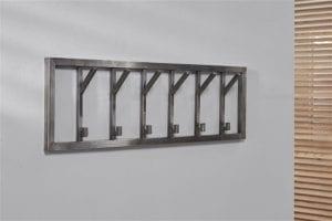 Garderobe 6 haaks breed 25mm RVS / Gun metal-RVS. 4316/38G uit de kapstokken collectie van Zijlstrakleinmeubelen & verlichting bij Löwik Meubelen