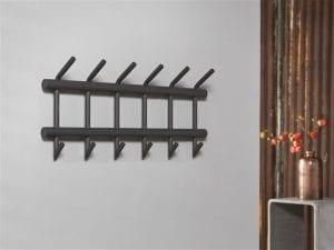 Garderobe met 6 haken uitgevoerd in ronde buis / Donkergrijs Mat. 4031/45M uit de kapstokken collectie van Zijlstrakleinmeubelen & verlichting bij Löwik Meubelen