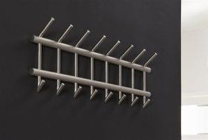 Garderobe 8 haaks breed ronde buis RVS / Geborsteld RVS. 4632/38B uit de kapstokken collectie van Zijlstrakleinmeubelen & verlichting bij Löwik Meubelen