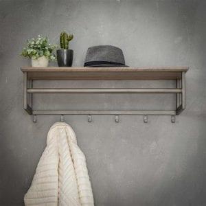 Kapstok 6 haken met roede -hoedenplank / 3D eiken greywash. 5567/66 uit de kapstokken collectie van Zijlstrakleinmeubelen & verlichting bij Löwik Meubelen