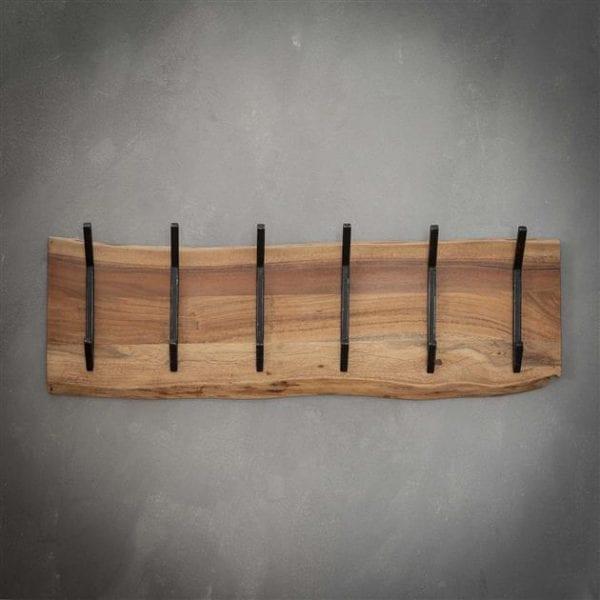 Kapstok edge 2x6 haken / Massief acacia naturel. 2482/15 uit de kapstokken collectie van Zijlstrakleinmeubelen & verlichting bij Löwik Meubelen