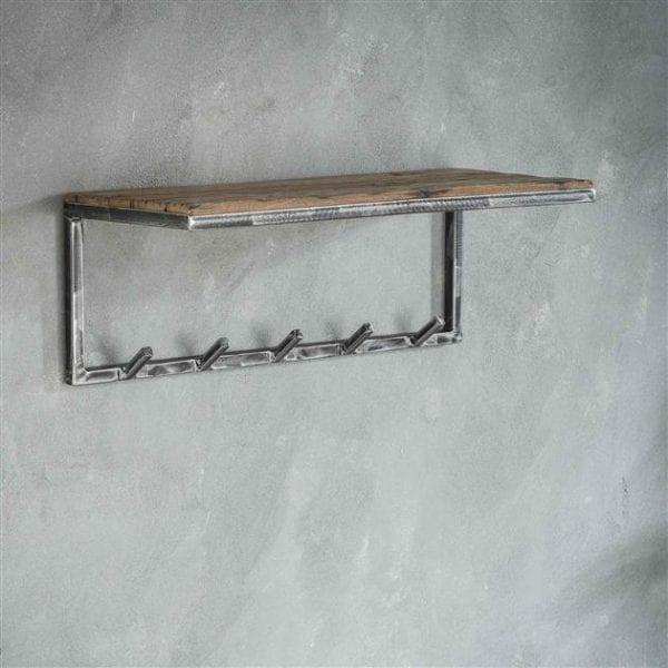 Kapstok grained 5 haken hoedenplank / Robuust hardhout. 2454/20 uit de kapstokken collectie van Zijlstrakleinmeubelen & verlichting bij Löwik Meubelen