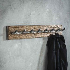 Kapstok grained 8 haken / Robuust hardhout. 2452/20 uit de kapstokken collectie van Bullcraft kleinmeubelen & verlichting bij Löwik Meubelen