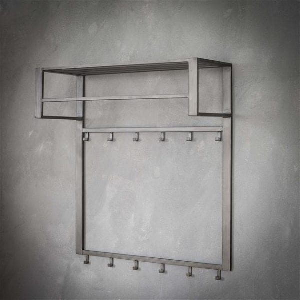 Kapstok industrial 2x6 haken roede -hoedenplank/Zilver. 5573/29S uit de kapstokken collectie van Zijlstrakleinmeubelen & verlichting bij Löwik Meubelen