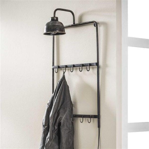 Kapstoklamp voorzien van 2x5 haken / Oud zilver. 7627/29 uit de kapstokken collectie van Zijlstrakleinmeubelen & verlichting bij Löwik Meubelen