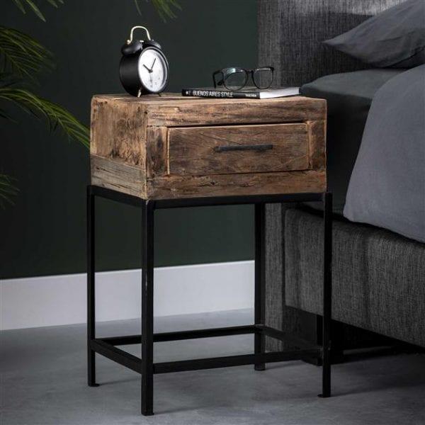 Nachtkastje 1L lodge / Massief gerecycled hout. 2180/18 uit de nachtkastjes collectie van Bullcraft kleinmeubelen & verlichting bij Löwik Meubelen