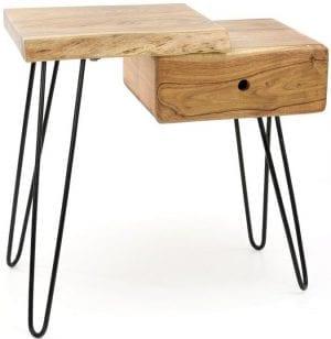 Side table/ nachtkastje edge links. Het ladeblok zit rechts en het plateau bevindt zich links. / Massief acacia naturel. 2514/15 uit de nachtkastjes collectie van Zijlstrakleinmeubelen & verlichting bij Löwik Meubelen