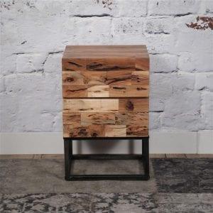 Nachtkastje Mill 2L / Massief acacia gezandstraald. 2142/15G uit de nachtkastjes collectie van Zijlstrakleinmeubelen & verlichting bij Löwik Meubelen