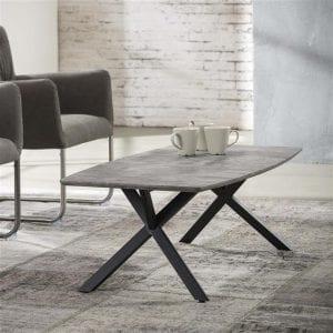 Salontafel 120 ovaal blad / 3D betonlook grijs. 5683/62 uit de salontafels collectie van Zijlstrakleinmeubelen & verlichting bij Löwik Meubelen