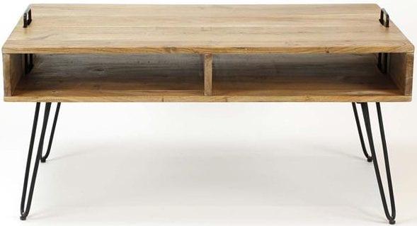 Salontafel Quadro met 2 vakken / Massief acacia naturel. 2337/15 uit de salontafels collectie van Zijlstrakleinmeubelen & verlichting bij Löwik Meubelen