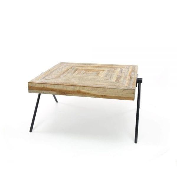 Salontafel Teca balance 80x80 / Teakhout verweerd. 2645/19 uit de salontafels collectie van Zijlstrakleinmeubelen & verlichting bij Löwik Meubelen