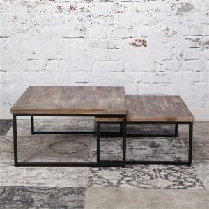 Salontafel Teca set/2 75x75 / Teakhout greywash. 2649/19G uit de salontafels collectie van Zijlstrakleinmeubelen & verlichting bij Löwik Meubelen