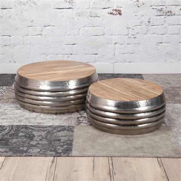 Salontafel set/2 houten top/staal / Antiek Nikkel. 3495/31A uit de salontafels collectie van Zijlstrakleinmeubelen & verlichting bij Löwik Meubelen