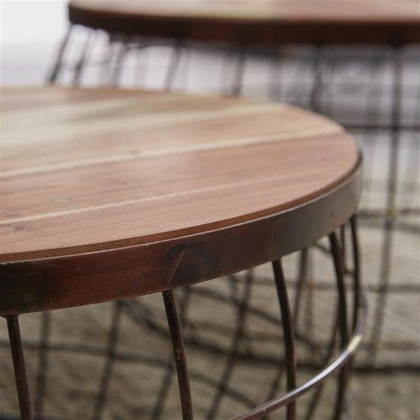 Salontafel set/2 houten top/wire / Antiek koper finish. 3492/32A uit de salontafels collectie van Zijlstrakleinmeubelen & verlichting bij Löwik Meubelen