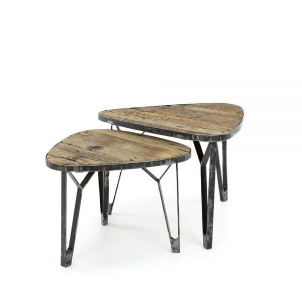 Salontafel set/2 levervormig met een metalen rand / Robuust hardhout. 2543/20 uit de salontafels collectie van Zijlstrakleinmeubelen & verlichting bij Löwik Meubelen