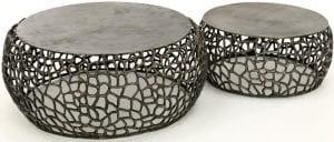 Salontafel set/2 maze zandgegoten / Zwart nikkel. 3485/31Z uit de salontafels collectie van Zijlstrakleinmeubelen & verlichting bij Löwik Meubelen