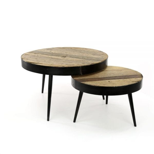 Salontafel set/2 metalen rand tapse poot / Robuust hardhout. 2542/20 uit de salontafels collectie van Zijlstrakleinmeubelen & verlichting bij Löwik Meubelen