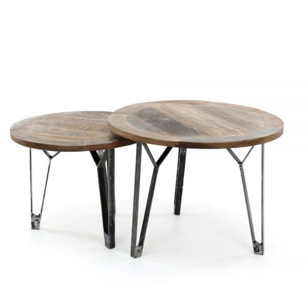 Salontafel set/2 rond met een metalen V-poot / Massief gerecycled hout. 2540/18 uit de salontafels collectie van Zijlstrakleinmeubelen & verlichting bij Löwik Meubelen