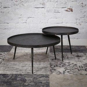 Salontafel set/2 rond metallic/Grijs. 3162/48 uit de salontafels collectie van Zijlstrakleinmeubelen & verlichting bij Löwik Meubelen