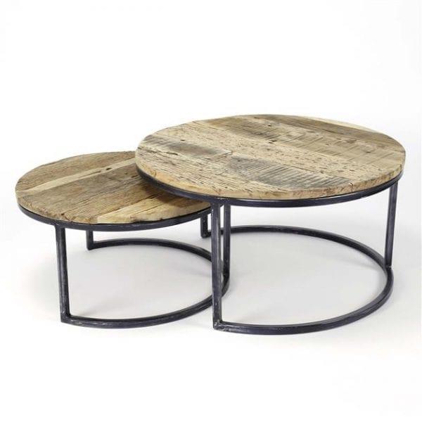 Salontafel set/2 rond/halfrond frame / Robuust hardhout. 2547/20 uit de salontafels collectie van Zijlstrakleinmeubelen & verlichting bij Löwik Meubelen