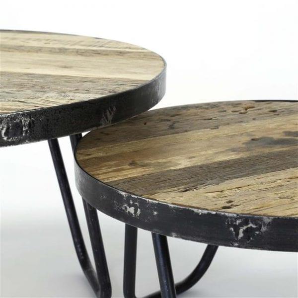 Salontafel set/2 rond/metalen rand / Robuust hardhout. 2544/20 uit de salontafels collectie van Zijlstrakleinmeubelen & verlichting bij Löwik Meubelen