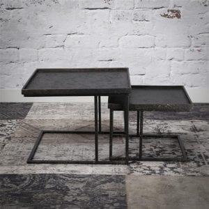 Salontafel set/2 vierkant metallic/Grijs. 3163/48 uit de salontafels collectie van Zijlstrakleinmeubelen & verlichting bij Löwik Meubelen