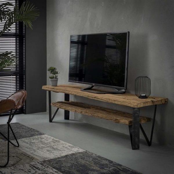 TV-meubel 160x40 1 tussenplank / Robuust hardhout. 2550/20 uit de opbergmeubelen collectie van Zijlstrakleinmeubelen & verlichting bij Löwik Meubelen