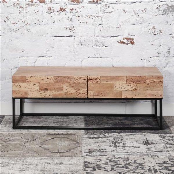 TV-meubel Mill 2L / Massief acacia gezandstraald. 2144/15G uit de opbergmeubelen collectie van Zijlstrakleinmeubelen & verlichting bij Löwik Meubelen