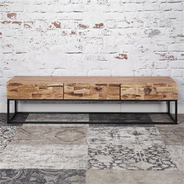 TV-meubel Mill 3L / Massief acacia gezandstraald. 2145/15G uit de opbergmeubelen collectie van Zijlstrakleinmeubelen & verlichting bij Löwik Meubelen
