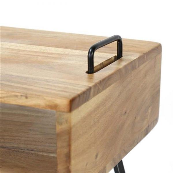 TV-meubel Quadro met 2 vakken / Massief acacia naturel. 2334/15 uit de opbergmeubelen collectie van Zijlstrakleinmeubelen & verlichting bij Löwik Meubelen
