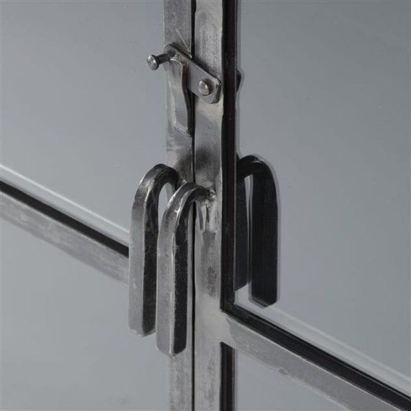 Vitrinekast Rift metal 2 deuren / Gun metal. 5863/44G uit de wandkasten collectie van Zijlstrakleinmeubelen & verlichting bij Löwik Meubelen